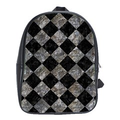 Square2 Black Marble & Gray Stone School Bag (large)