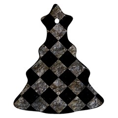 Square2 Black Marble & Gray Stone Christmas Tree Ornament (two Sides)