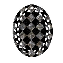 Square2 Black Marble & Gray Stone Oval Filigree Ornament (two Sides)