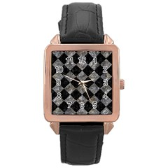 Square2 Black Marble & Gray Stone Rose Gold Leather Watch