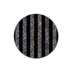 Stripes1 Black Marble & Gray Stone Rubber Round Coaster (4 Pack)
