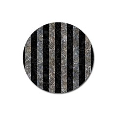 Stripes1 Black Marble & Gray Stone Magnet 3  (round)