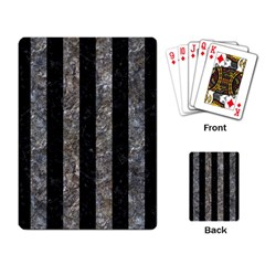 Stripes1 Black Marble & Gray Stone Playing Card