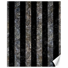 Stripes1 Black Marble & Gray Stone Canvas 16  X 20
