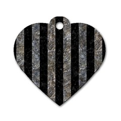 Stripes1 Black Marble & Gray Stone Dog Tag Heart (two Sides)