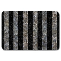 Stripes1 Black Marble & Gray Stone Large Doormat