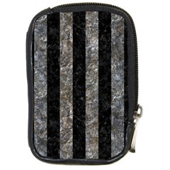 Stripes1 Black Marble & Gray Stone Compact Camera Cases