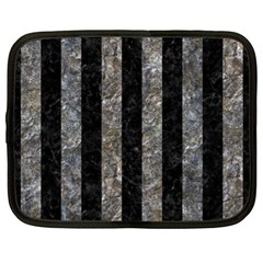 Stripes1 Black Marble & Gray Stone Netbook Case (xl)