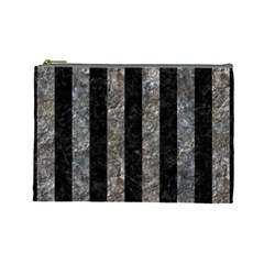 Stripes1 Black Marble & Gray Stone Cosmetic Bag (large)
