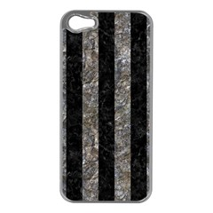 Stripes1 Black Marble & Gray Stone Apple Iphone 5 Case (silver)