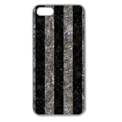 Stripes1 Black Marble & Gray Stone Apple Seamless Iphone 5 Case (clear)