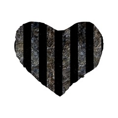 Stripes1 Black Marble & Gray Stone Standard 16  Premium Heart Shape Cushions
