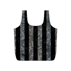 Stripes1 Black Marble & Gray Stone Full Print Recycle Bags (s)