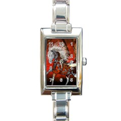 Awesome Steampunk Horse With Wings Rectangle Italian Charm Watch