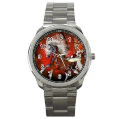 Awesome Steampunk Horse With Wings Sport Metal Watch
