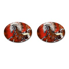 Awesome Steampunk Horse With Wings Cufflinks (oval)