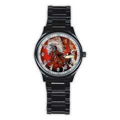 Awesome Steampunk Horse With Wings Stainless Steel Round Watch
