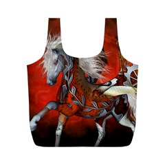 Awesome Steampunk Horse With Wings Full Print Recycle Bags (m)