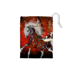 Awesome Steampunk Horse With Wings Drawstring Pouches (small)