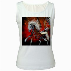 Awesome Steampunk Horse With Wings Women s White Tank Top