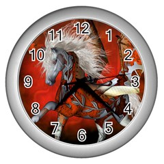 Awesome Steampunk Horse With Wings Wall Clocks (silver)