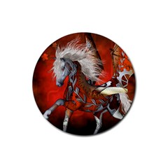 Awesome Steampunk Horse With Wings Rubber Coaster (round)