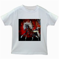 Awesome Steampunk Horse With Wings Kids White T Shirts
