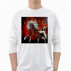 Awesome Steampunk Horse With Wings White Long Sleeve T Shirts