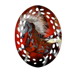 Awesome Steampunk Horse With Wings Ornament (oval Filigree)