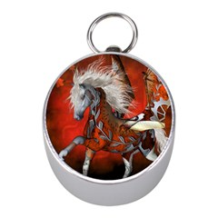 Awesome Steampunk Horse With Wings Mini Silver Compasses
