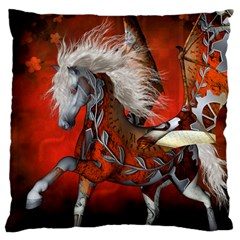 Awesome Steampunk Horse With Wings Large Flano Cushion Case (two Sides)