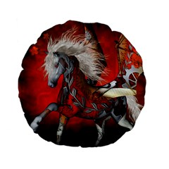 Awesome Steampunk Horse With Wings Standard 15  Premium Flano Round Cushions