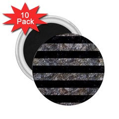 Stripes2 Black Marble & Gray Stone 2 25  Magnets (10 Pack)