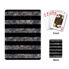 Stripes2 Black Marble & Gray Stone Playing Card