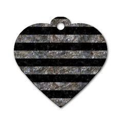 Stripes2 Black Marble & Gray Stone Dog Tag Heart (two Sides)