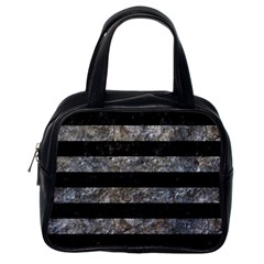 Stripes2 Black Marble & Gray Stone Classic Handbags (one Side)