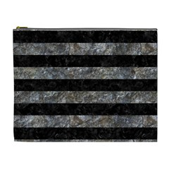 Stripes2 Black Marble & Gray Stone Cosmetic Bag (xl)