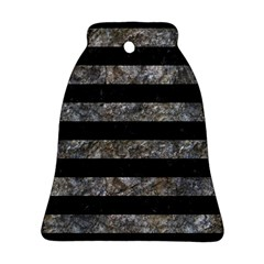 Stripes2 Black Marble & Gray Stone Ornament (bell)
