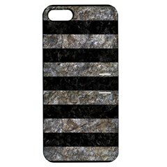 Stripes2 Black Marble & Gray Stone Apple Iphone 5 Hardshell Case With Stand