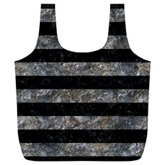 Stripes2 Black Marble & Gray Stone Full Print Recycle Bags (l)