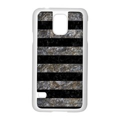 Stripes2 Black Marble & Gray Stone Samsung Galaxy S5 Case (white)