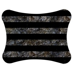 Stripes2 Black Marble & Gray Stone Jigsaw Puzzle Photo Stand (bow)