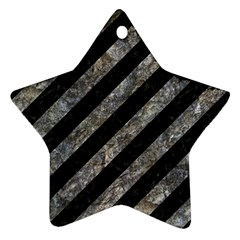 Stripes3 Black Marble & Gray Stone Star Ornament (two Sides)
