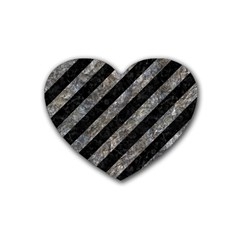 Stripes3 Black Marble & Gray Stone Heart Coaster (4 Pack)