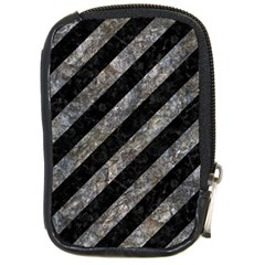 Stripes3 Black Marble & Gray Stone Compact Camera Cases