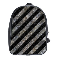 Stripes3 Black Marble & Gray Stone School Bag (large)