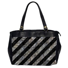 Stripes3 Black Marble & Gray Stone Office Handbags (2 Sides)