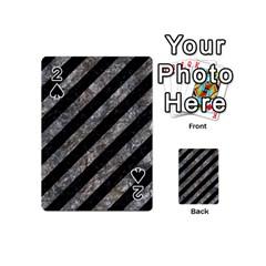 Stripes3 Black Marble & Gray Stone Playing Cards 54 (mini)