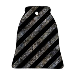 Stripes3 Black Marble & Gray Stone Bell Ornament (two Sides)