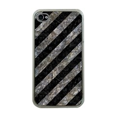 Stripes3 Black Marble & Gray Stone Apple Iphone 4 Case (clear)